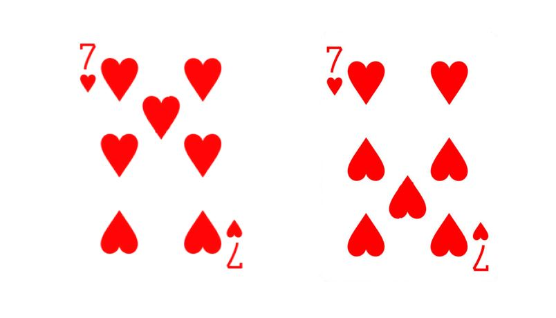 7 de coeur à l'endroit et à l'envers